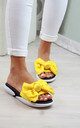 Yellow Bow Slip On Comfy Sandals by Larena Fashion