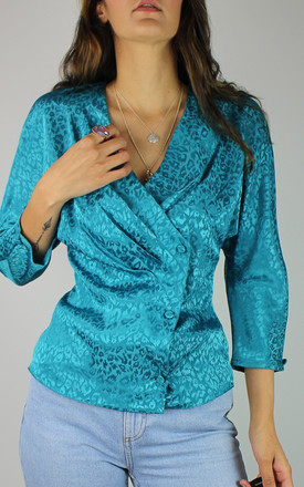 Vintage Blouse With Pleat & Button Front In Blue Animal Print by Re:dream Vintage Product photo