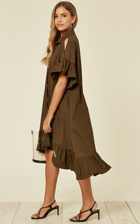 Large Eyelet Detail Shirt Dress in Khaki by Malissa J Collection