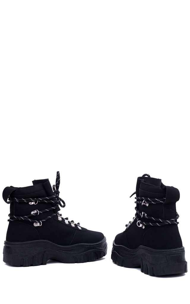 FURIOUSER Lace Up Chunky Ankle Boots in Black by SpyLoveBuy