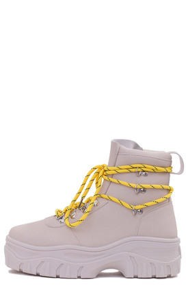 FURIOUSER Lace Up Chunky Ankle Boots in Beige by SpyLoveBuy