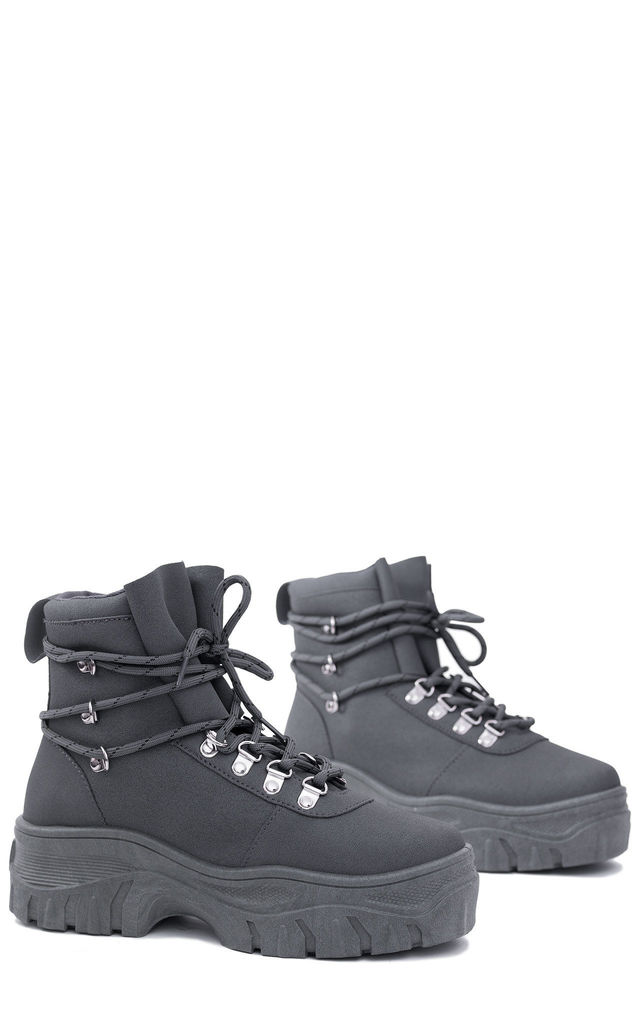 FURIOUSER Lace Up Chunky Ankle Boots in Grey by SpyLoveBuy