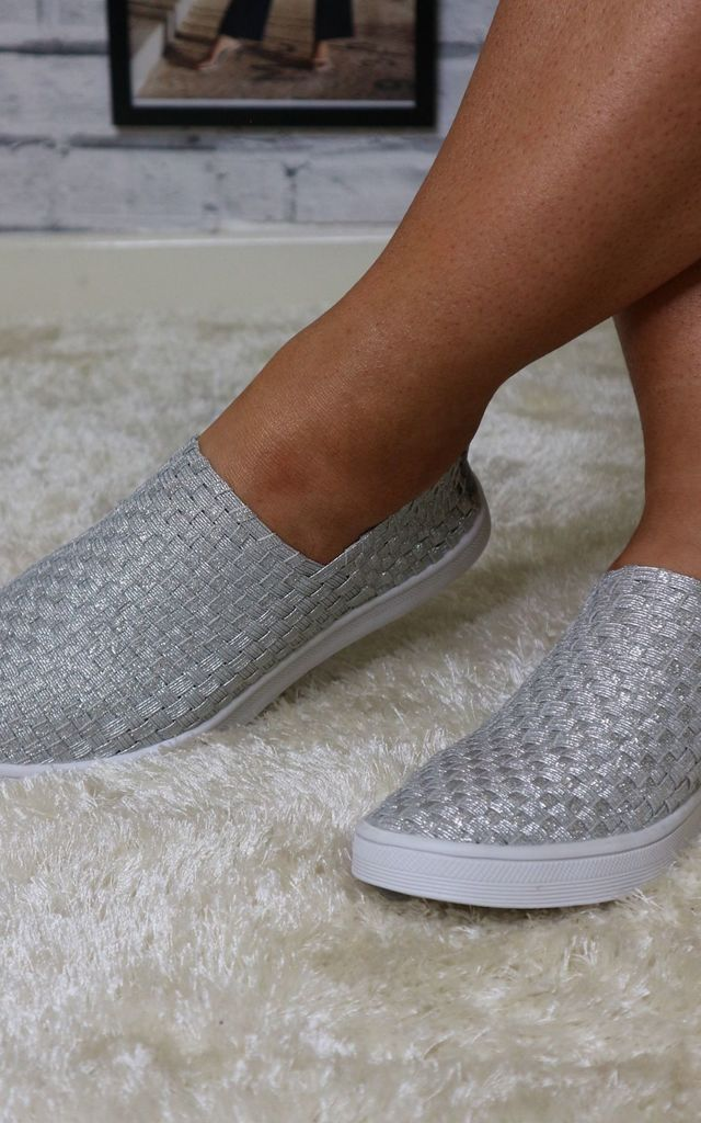 Silver canvas elasticated pumps by Bond Street Shoe Company