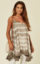 Tie Dye Swing Vest Top in Taupe by Malissa J Collection