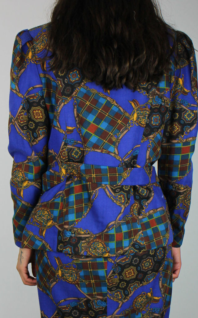 Vintage Suit Co-ord Jacket in Blue Scarf Chain Print by Re:dream Vintage