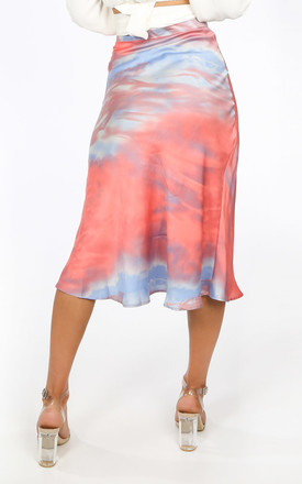 Pink Tie Dye Satine Bias Cut Midi Skirt by Dressed In Lucy