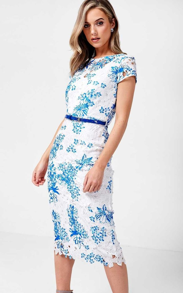 Crochet Cap Sleeve Midi Dress in White and Blue by Marc Angelo