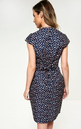 Cap Sleeve Tulip Dress with V Neck in Navy Heart Print by Marc Angelo