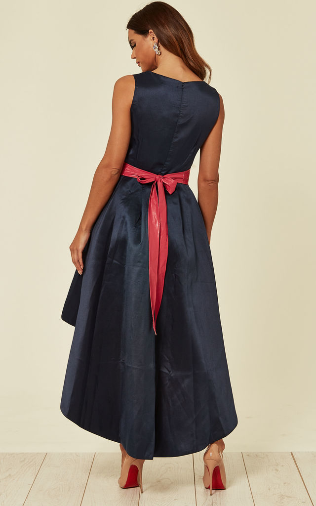 Asymmetrical Occasion Midi Dress with Belt in Navy and Pink by KRISP