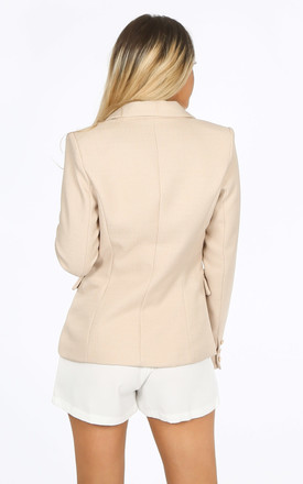 Beige Textured Tailored Military Blazer by Dressed In Lucy