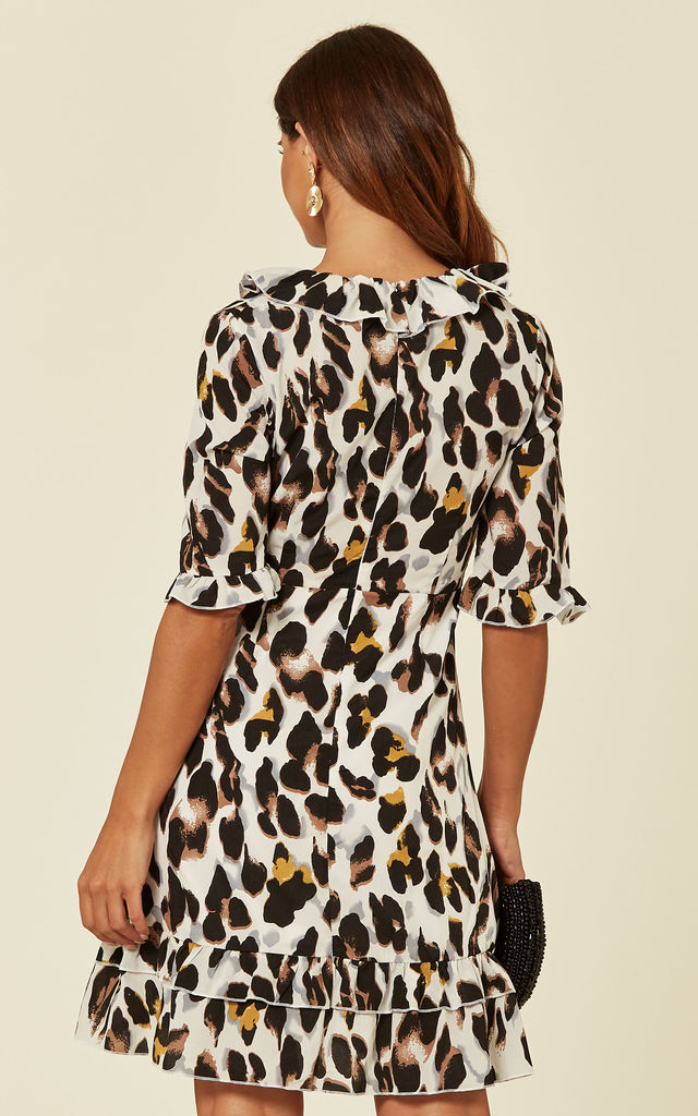 3/4 Sleeve Wrap Dress in Leopard Print by Madam Rage