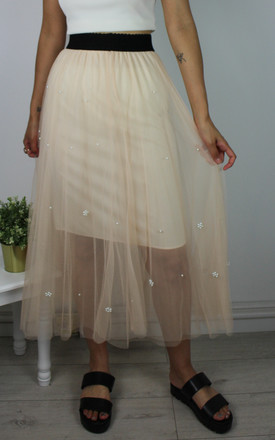 Vintage Tulle Net Midi Skirt with Pearl Detail in Cream by Re:dream Vintage