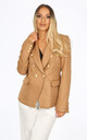 Camel Textured Tailored Military Blazer by Dressed In Lucy