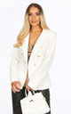 White Textured Tailored Military Blazer by Dressed In Lucy