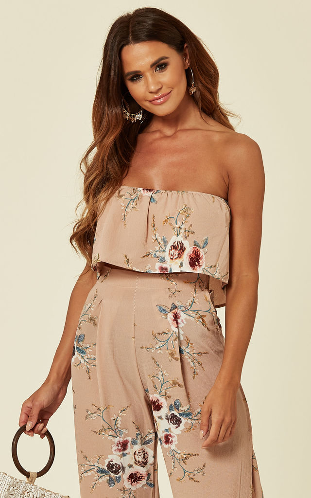 Strapless Top And Trousers Co-Ord Set in Beige Floral Print by Verso Fashion