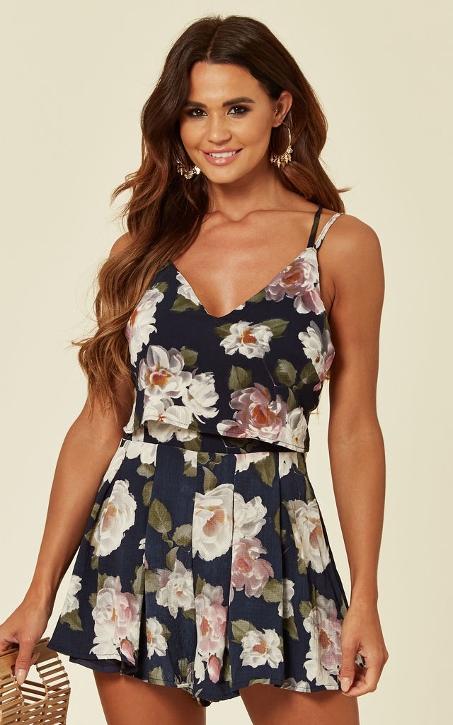 Strappy Playsuit in Navy Floral Print by Verso Fashion