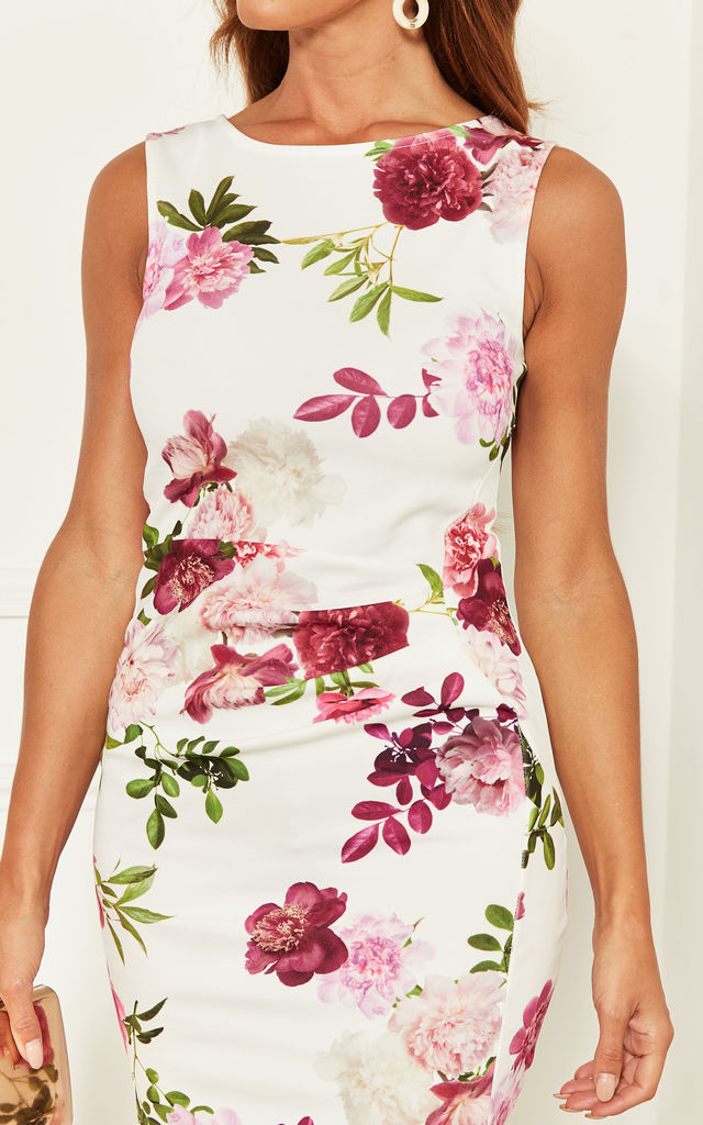 Sleeveless Bodycon Midi with side pleats in White Floral by Bella and Blue