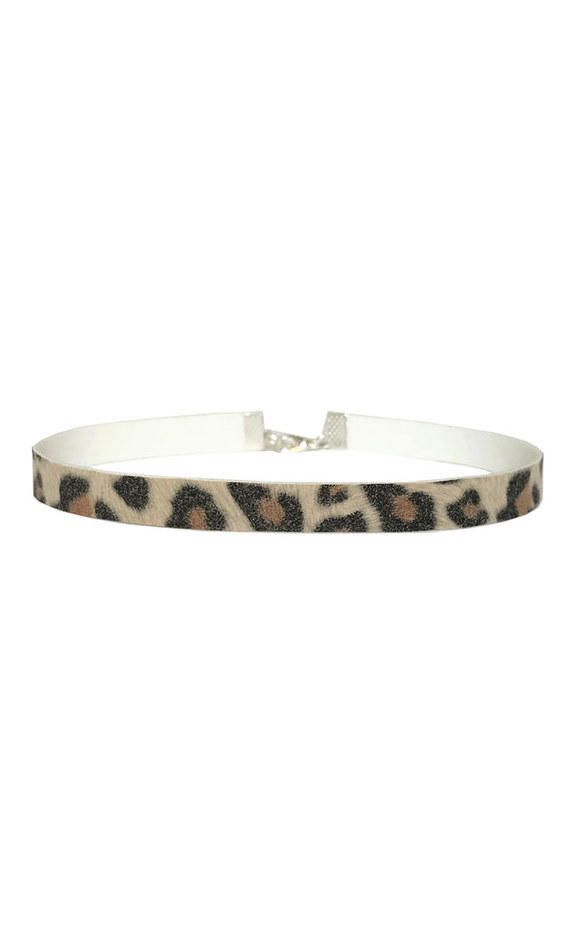 Soft Leopard Print Slim Choker - Necklace by LULU IN THE SKY