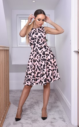 Natasha Sleeveless Skater Dress In Leopard Print by Missfiga Product photo