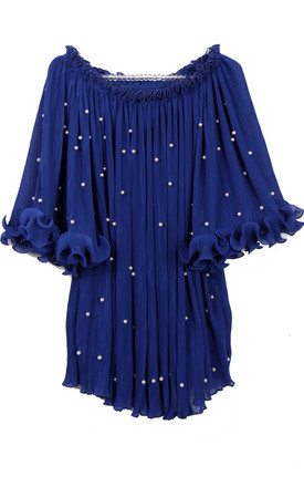 Off Shoulder Floaty Pleated Tunic with Pearl Detail in Royal Blue by Urban Mist