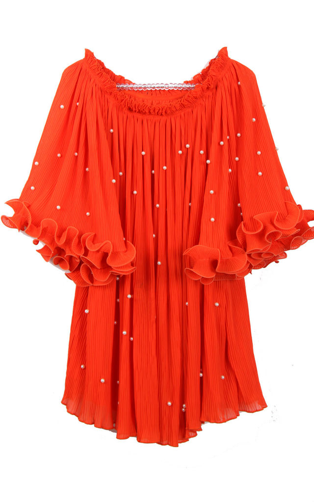 Off Shoulder Floaty Pleated Tunic with Pearl Detail in Coral by Urban Mist