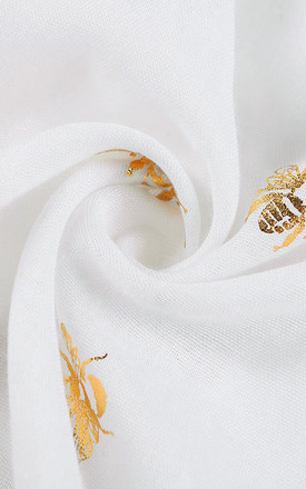 BONITA Lightweight Scarf in White with Gold Bees by Ruby Rocks Boutique