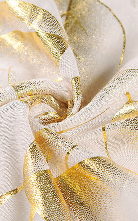 COLETA Lightweight Scarf in Beige with Gold Leaves by Ruby Rocks Boutique