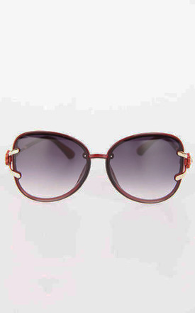 Oversized Cat Eye Sunglasses In Red by Urban Mist