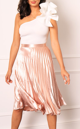 Metallic Satin Pleated High Waisted Midi Skirt In Rose Gold by One Nation Clothing Product photo