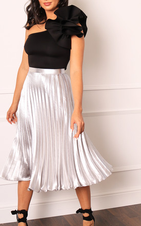 Metallic Satin Pleated High Waisted Midi Skirt In Silver by One Nation Clothing Product photo