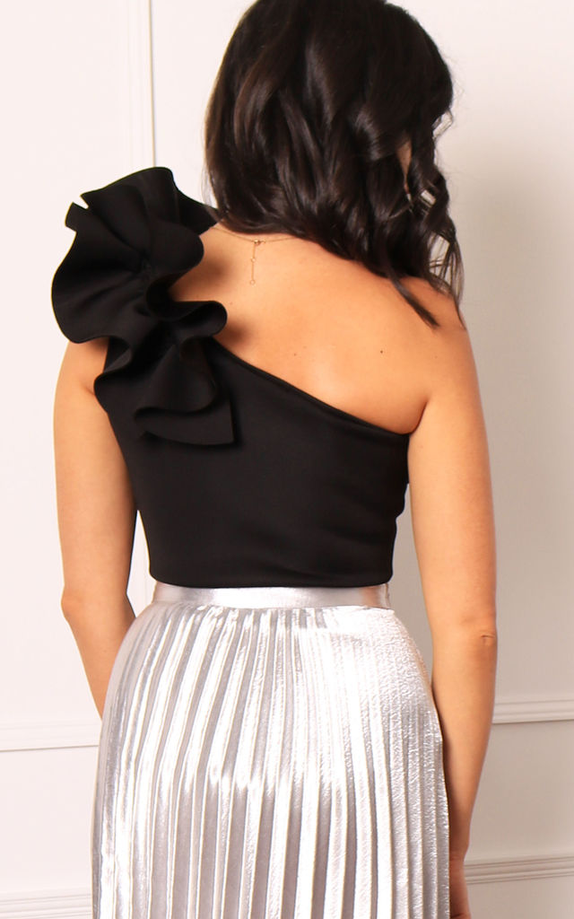 One Shoulder Neoprene Bodysuit with Ruffle Detail in Black by One Nation Clothing