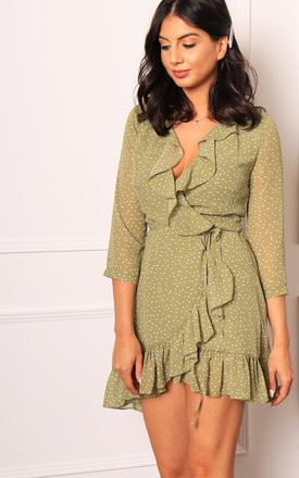 Teardrop Spot Three Quarter Sleeve Frill Edge Wrap Over Mini Dress In Sage Green & White by One Nation Clothing Product photo