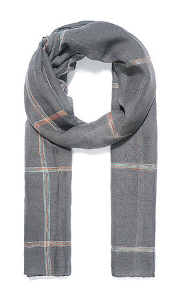 Light Grey Check Embroidered Scarf by Xander Kostroma