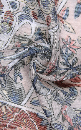 Vintage Grey Mix Floral Print Scarf by Xander Kostroma