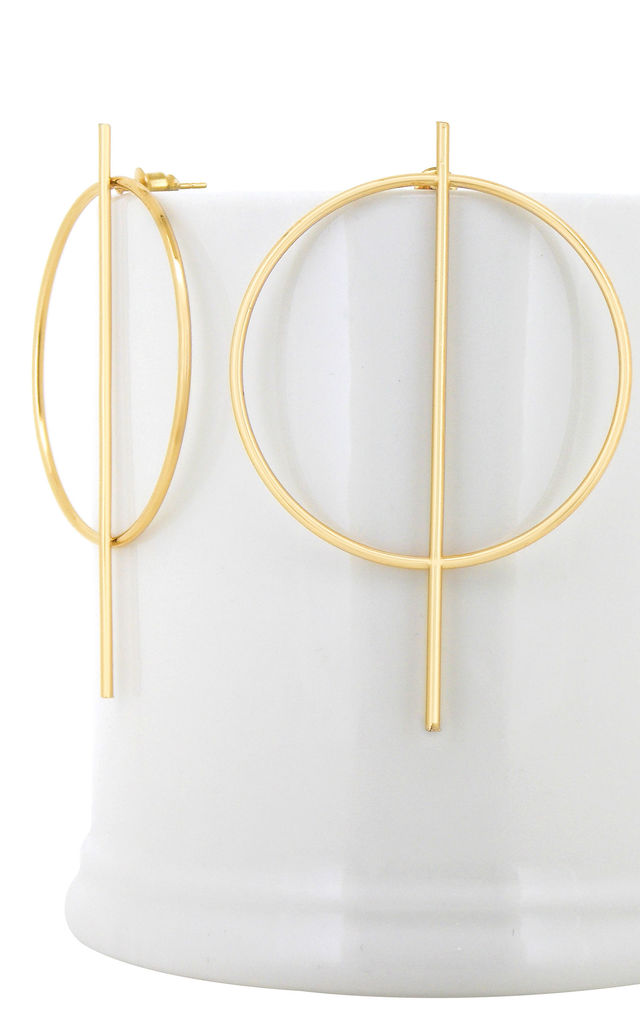 Gold Circle Stick Drop Earrings by Always Chic
