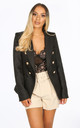 Black Textured Tailored Military Blazer by Dressed In Lucy