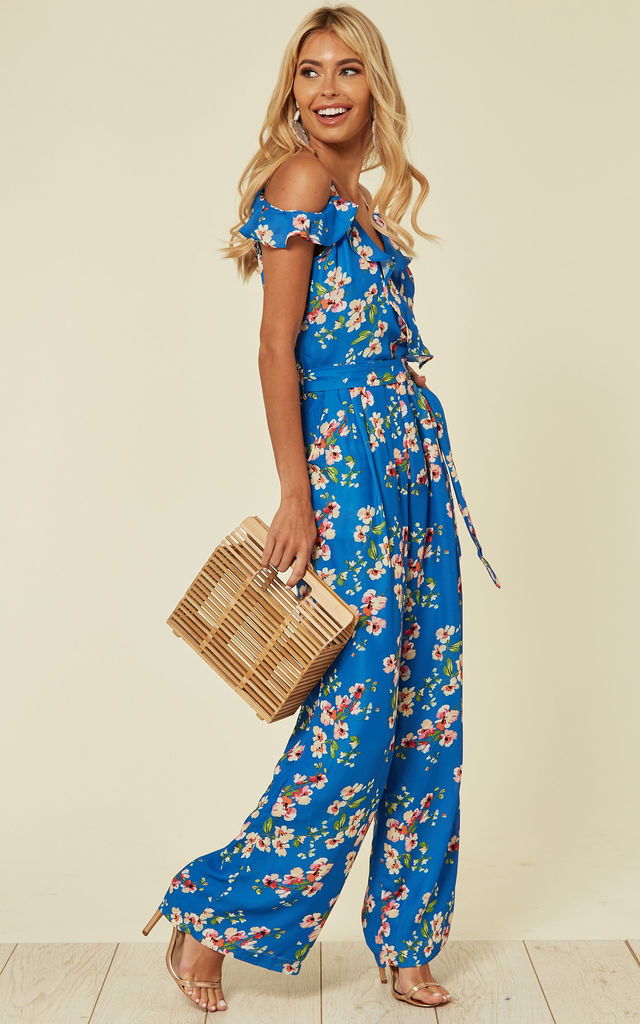 Cold Shoulder Jumpsuit in Blue Floral Print by Yumi