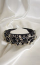 Raven embellished Crown headband in black by Farrow Low