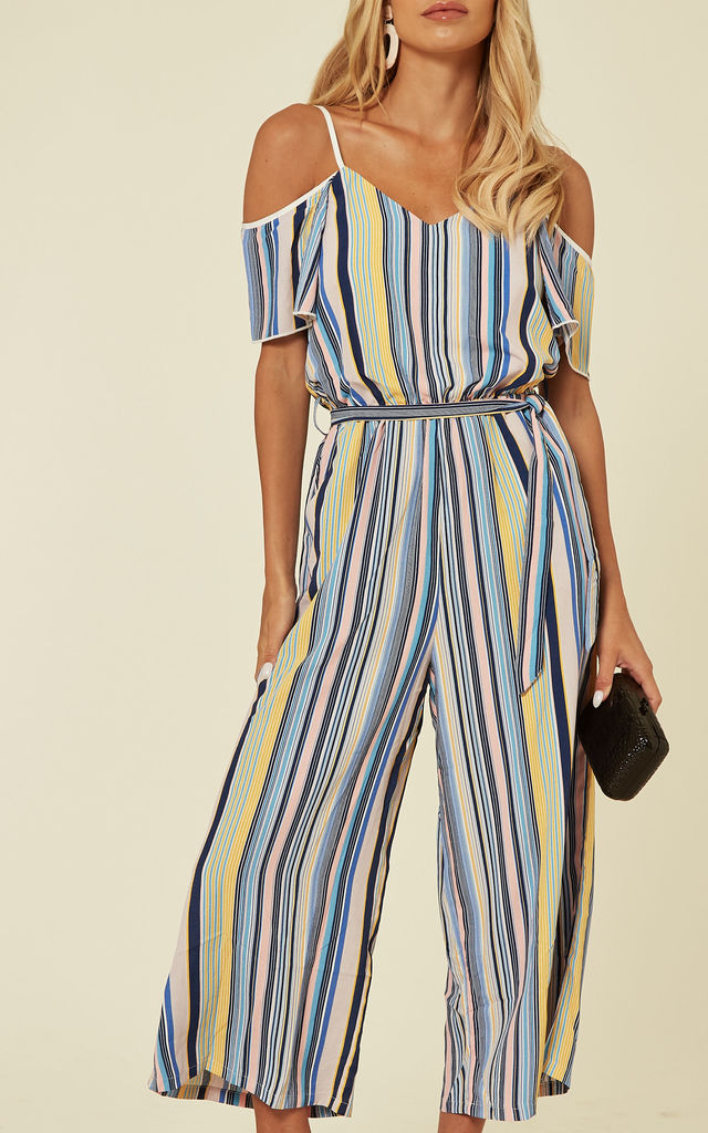 Cold Shoulder Culotte Jumpsuit in Multi Stripe by Yumi