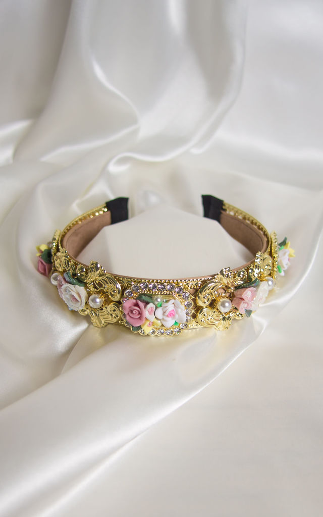 Emillia embellished floral Crown headband in gold by Farrow Low