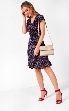 Cap Sleeve Wrap Dress in Navy Ditsy Floral Print by Marc Angelo