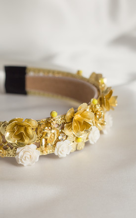Remmy floral embellished Crown headband in Gold by Farrow Low