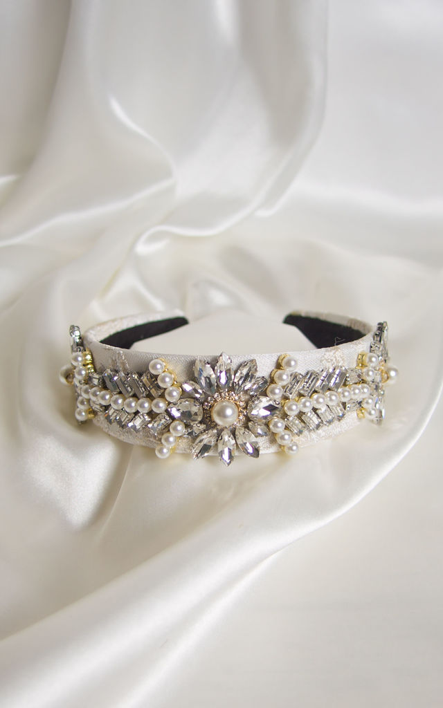 Raine embellished Crown headband in silver by Farrow Low