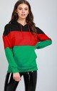 Zara Oversized Hooded Sweatshirt in Green Black and Red Stripe by Oops Fashion