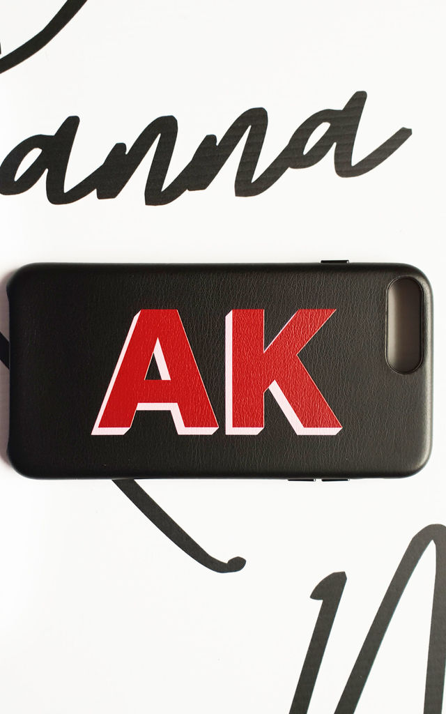 Personalised black and red pu leather phone case by Rianna Phillips