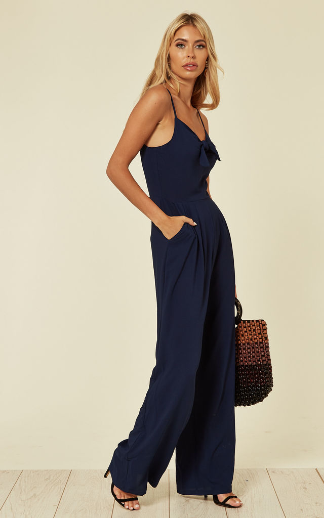 Strappy jumpsuit with Tie Knot in navy by Yumi
