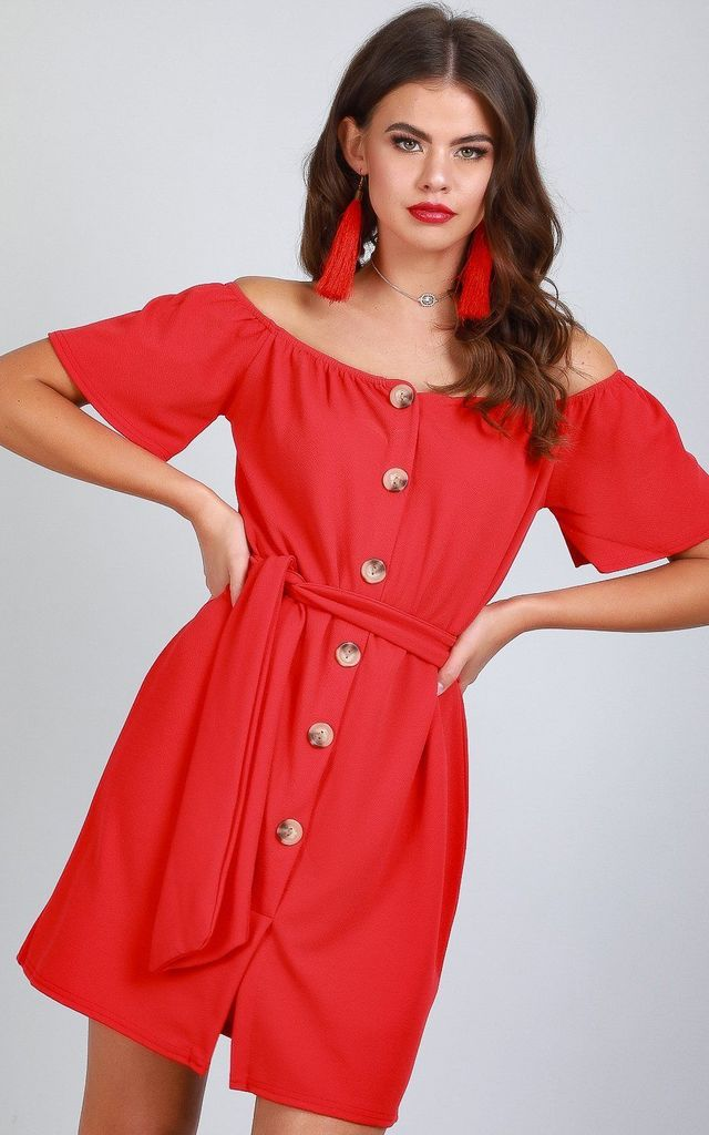 Button Through Off Shoulder Mini Dress in Red by Oops Fashion