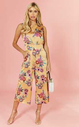 Floral Printed Shell Top Culotte Jumpsuit by Glamorous Product photo