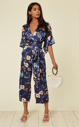 Satin Kimono Style Jumpsuit In Navy Floral Print by Mela London