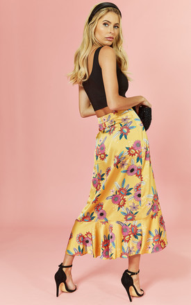 Bloom Floral Wrap Midi Skirt by Glamorous
